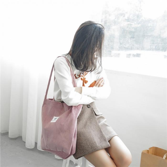High Capacity Women Corduroy Tote Ladies Casual Shoulder Bag Foldable Reusable Shopping Beach Bag WML99 16