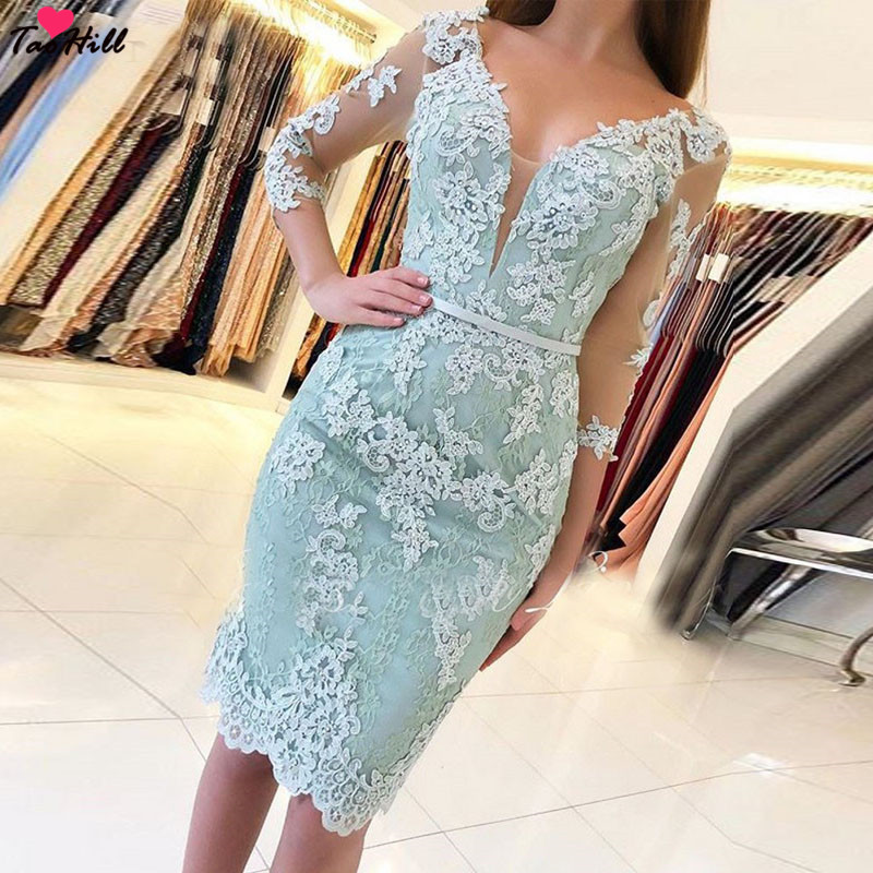 Taohill Lace Cocktail Dress 2019 Applique Pink Short Prom Dress Party Cocktail Dresses Cap Sleeves Vestidos De Coctel Robe Weddings & Events