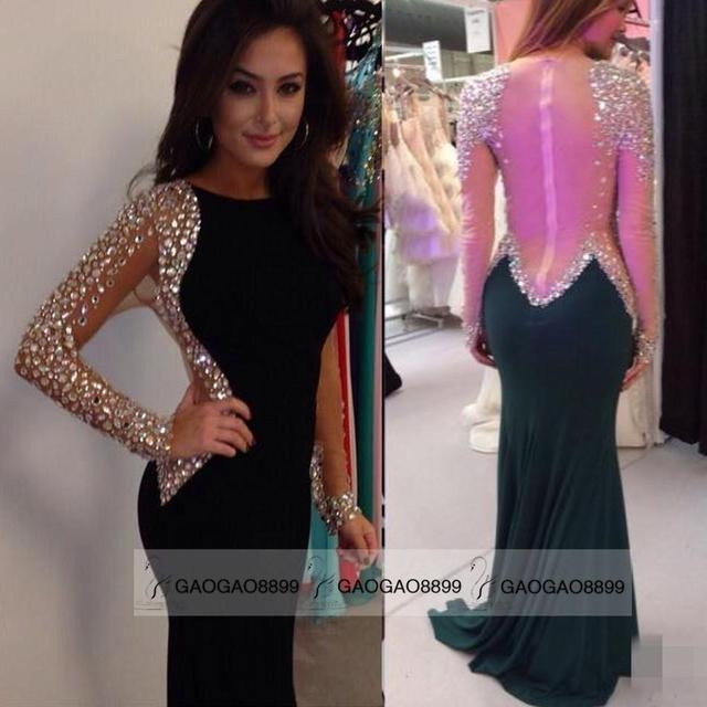 8aed84e5566f 2015 Black Mermaid Prom Dress Party Dress Tight Spandex Fabric Free  Shipping Sparkly Beaded Long Sleeve Occasion Gown