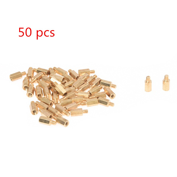 NFLC M3 Male x M3 Female 8mm Long Hexagonal Brass PCB Standoffs Spacers 50 Pcs