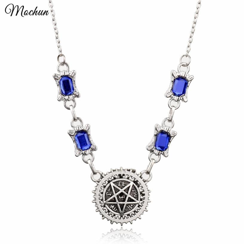 MQCHUN Fashion Anime Black Butler Pentagram Pendant Necklace Kuroshitsuji Blue Crystal Choker Necklace Cosplay Gifts Sebastian