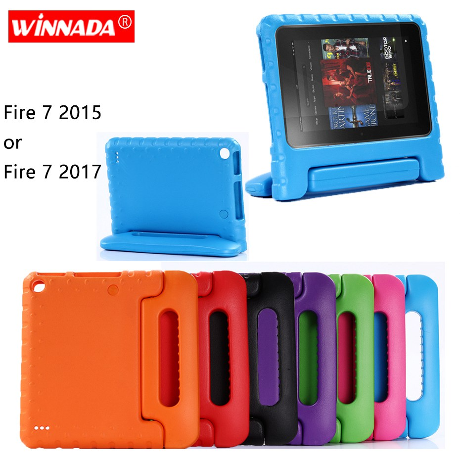 For Amazon Kindle Fire 7 2017 Case Kids Tablet Protecter Shell Shockproof EVA Hand-held Stand Cover For Kindle Fire7 2015