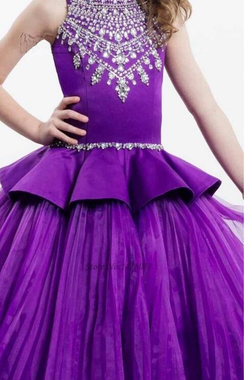 Girls Formal Dress 2017 Sleeveless Flower Girls Dresses Kids Diamond Pleated Party Gauze Ball Gown Children's Wedding Dress sun flower print pleated dress