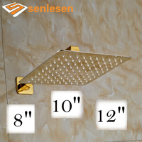 Factory Retail Best Quality Shower Head & Shower Arm Square Shaped 8 / 10 / 12 Sizes Gold Finish