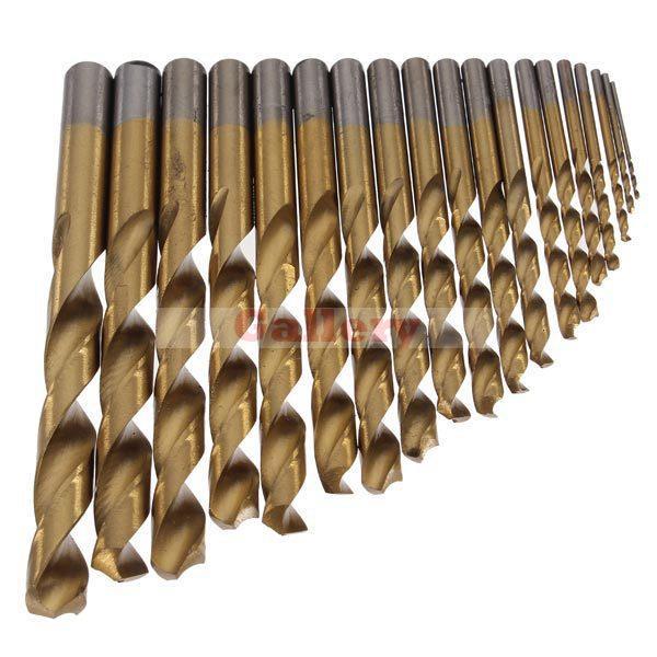 2 Sets Lot 19pcs Set Hss Titanium Twist Drills Golden Straight Shank Spiral Drill Bit free shipping of 1pc hss 6542 made cnc full grinded hss taper shank twist drill bit 11 175mm for steel