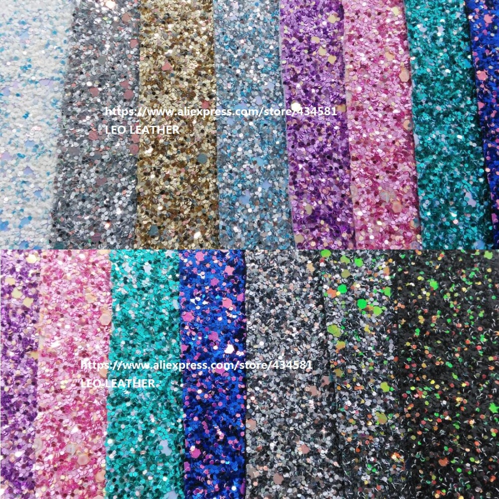 Mix Color Chunky Glitter PU Leather for DIY accessories wallpaper handbags and shoes P1223