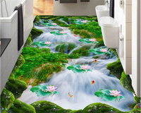 3D Lawn Waterfall Lotus Carp Bathroom Kitchen Walkway 3D 3D Painting 3d Waterproof Self Adhesive Wallpaper