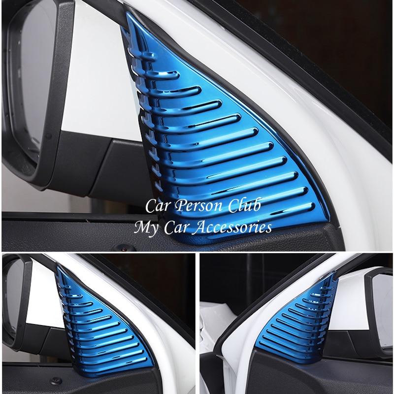 For Volkswagen VW T ROC 2017 2018 Car Front Door Window Pillar Inner Triangle A Column Cover Stainless Steel Sticker Accessories