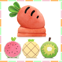 plush toy cartoon fruit Vegetable hand warm pillow cushion blanket Carrot watermelon Strawberry pineapple orange Kiwifruit 1pc