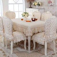 Cấp Cổ Điển tinh tế Hàng Đầu Jacquard dày ghế vải trải bàn ghế bao gồm Mục Vụ bao ren vải set khăn trải bàn