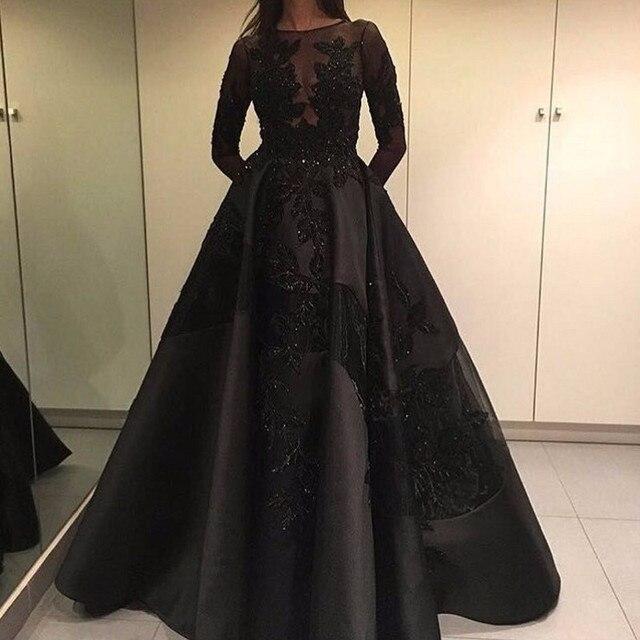 8d52a5c636c1 Haute Couture Black Splicing Formal Evening Dresses Long Sleeve Lace  Applique Beaded Satin With Organza Unique Porm Dress Custom