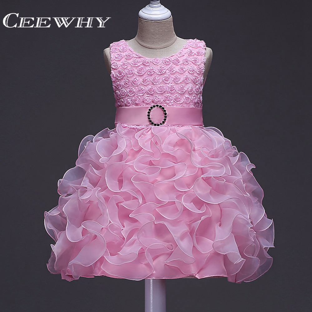 CEEWHY Appliques Beading Ruffles Ball Gown Prom   Dress   Vestido Menina Luxury   Flower     Girl     Dresses   Formal Party Chorus   Dress