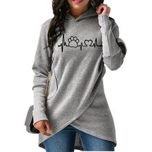 Fashionable, cute cat / dog paw heartbeat women's hoodie