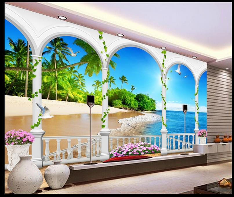 Papel De Parede 3d Fantasy Blue Sky Maldives Beach 3d Mural Tv Backdrop Wall Paper Hd Mural
