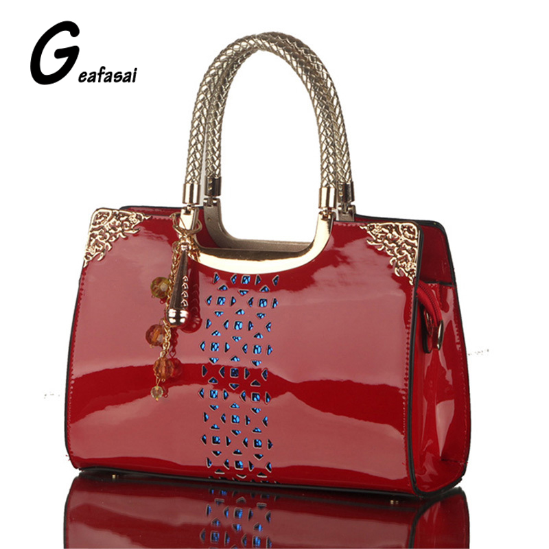 Brand red blue black Hollow out Glossy patent leather ladies boston top handle handbag tote shoulder bags for lady women female недорго, оригинальная цена