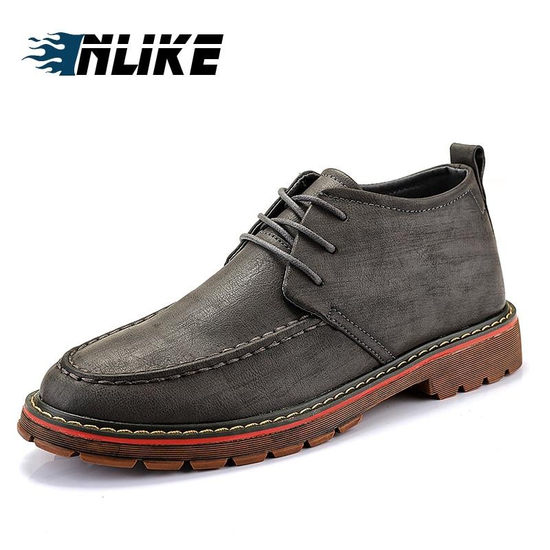 86cb42a7c Bottines Hommes Noir gris Confortable Cuir Marque Chaussure brown ...