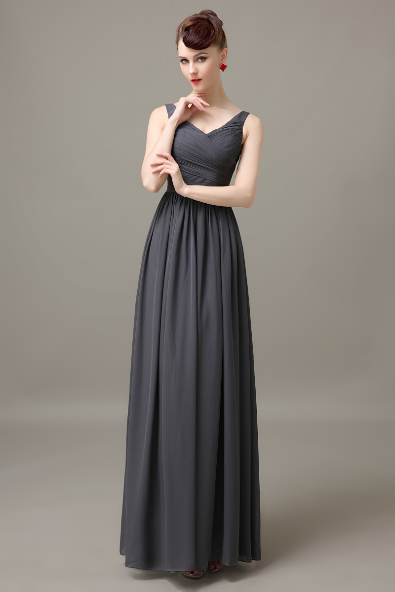 dark gray v neck long cheap chiffon discount simple bridesmaid dress ...