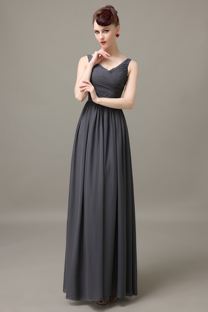 Dark Gray V Neck Long Cheap Chiffon Discount Simple Bridesmaid Dress Wedding  Guest Dress For