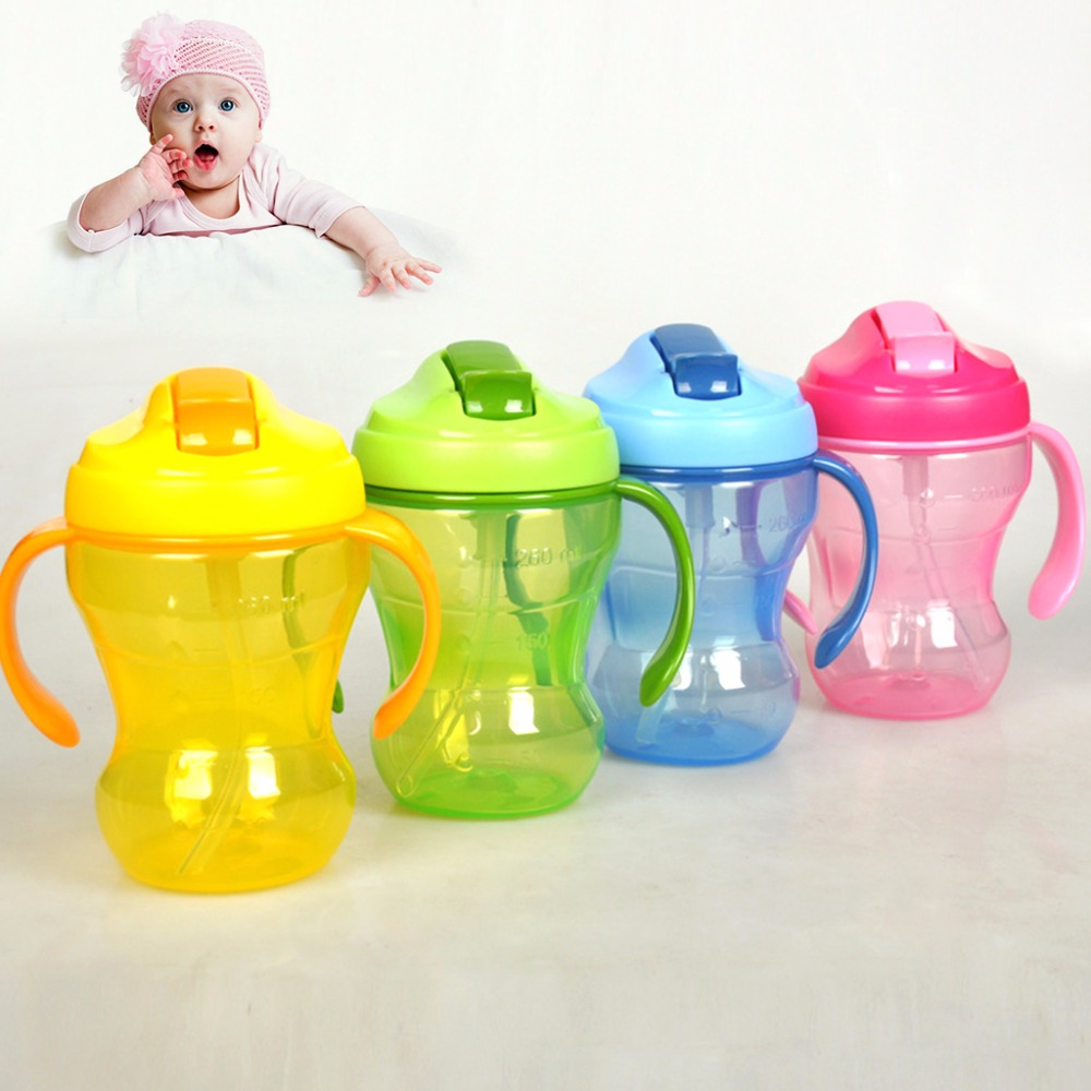 260ml Children Baby Infant Leak Proof Cup Learn Drinking Straw Bottle Trainer Baby Water ...