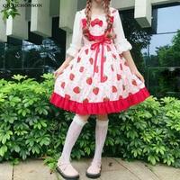 Japanese Style Kawaii Lolita Dress Women Spring Summer Strawberry Cherry Print Sundress Teens Bow Frilly Ruffle Dress Sleeveless
