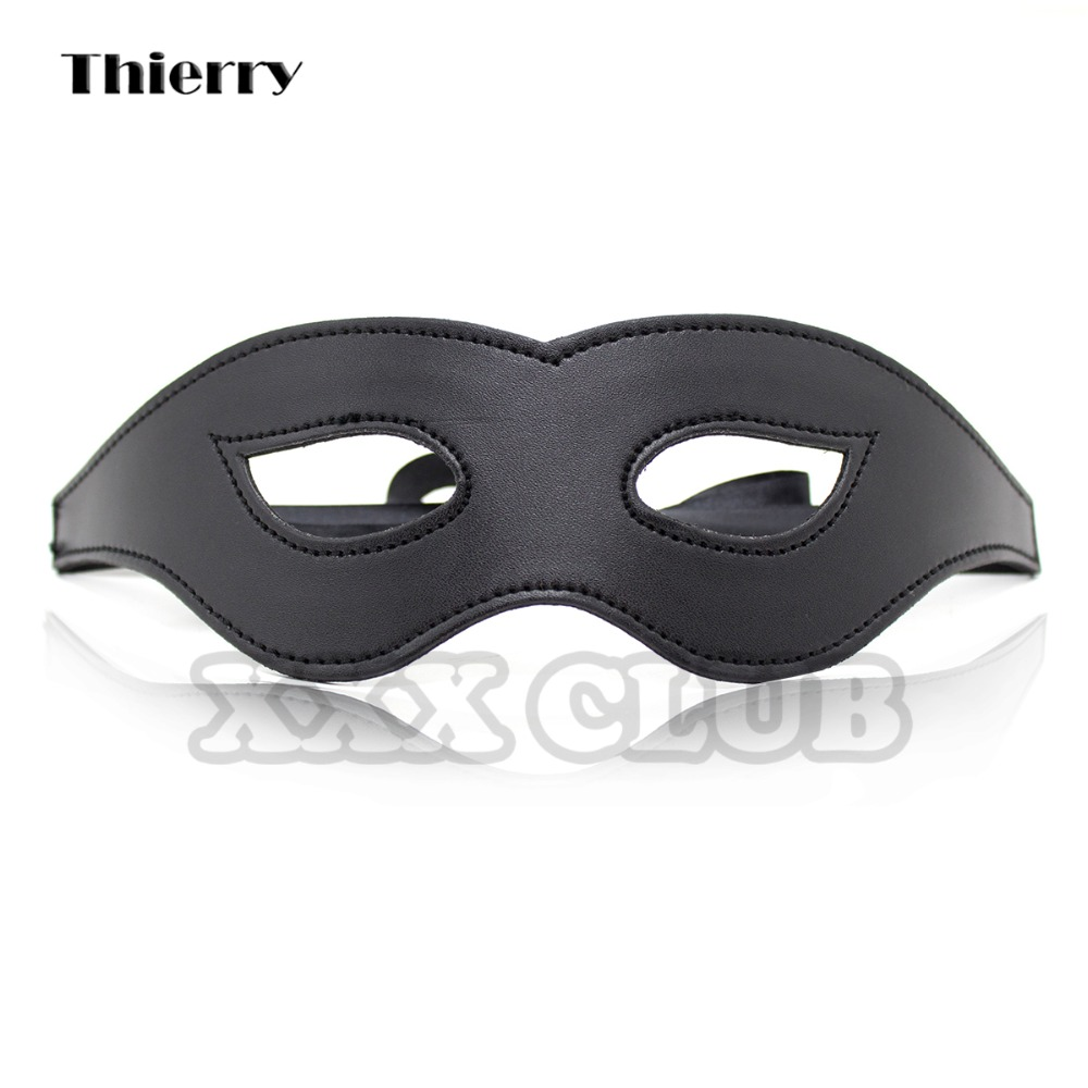 Thierry Black PU Leather Blindfolds Sexy Eye Mask Bondage Tease Sex Aid Party Fun Sex Toys For Couple Adult Games