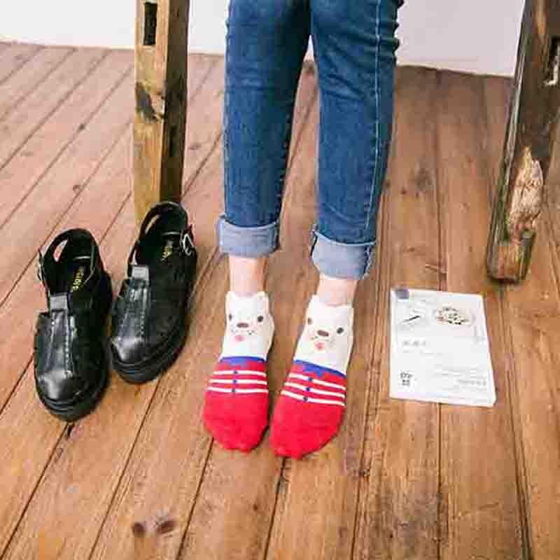 Printing boat socks women summer socks girls cartoon Three - dimensional animal low cut sweet invisible slippers cheap sale sox