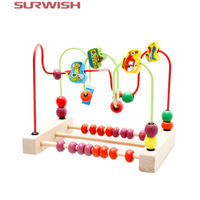 Baby Kids Toys Fashion Colorful Wooden Counting Traffic Bead Wire Maze Roller Coaster Wooden Educational Toys