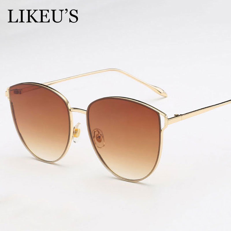 c508aa06cd9d2 LIKEU S Vintage cat eye Sunglasses Women Ocean Color Lens Mirror Fashion  Sunglasses Female Brand Design Metal Frame Glasses-in Sunglasses from  Apparel ...