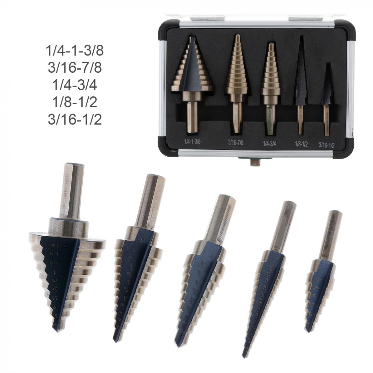 цена на 5pcs HSS Steel Step Drill Bit Set Cone Spiral Grooved Drill Bits Multiple Hole of 1/4-1-3/8 3/16-7/8 1/4-3/4 1/8-1/2 3/16-1/2