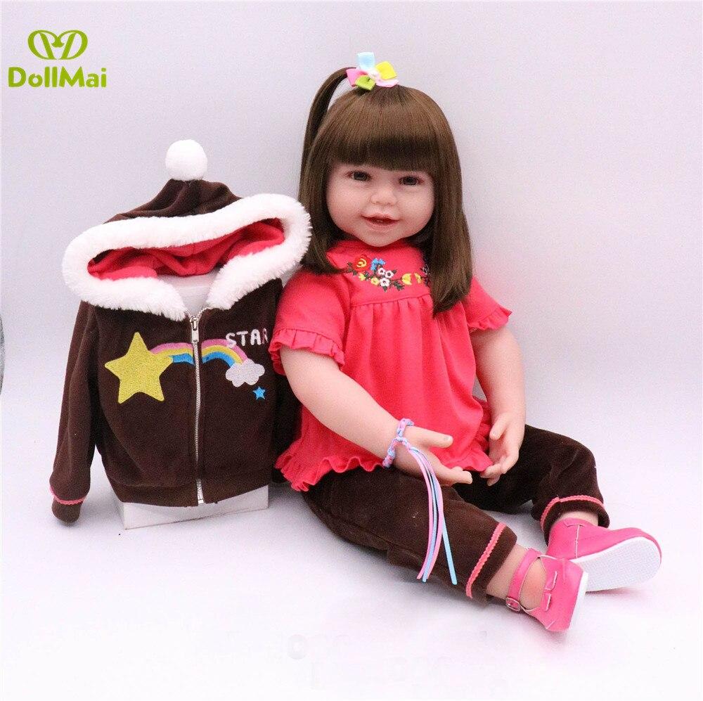 58 cm Silicone Reborn bébés douce mode princesse bambin poupée Brinquedos poupées limité longhair modèle enfants cadeau d'anniversaire jouet