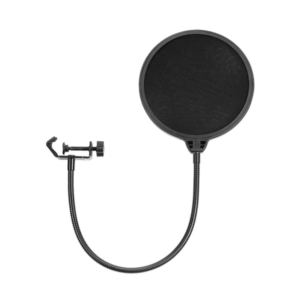 Neewer 10 Pack 6 pouces micro de Studio micro forme ronde vent Pop filtre masque boucliers avec support Clips pour enregistrement (noir)
