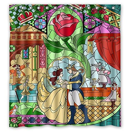Bathroom Shower Curtains Beauty And The Beast 180x180cm Eco Friendly Waterproof Fabric Curtain
