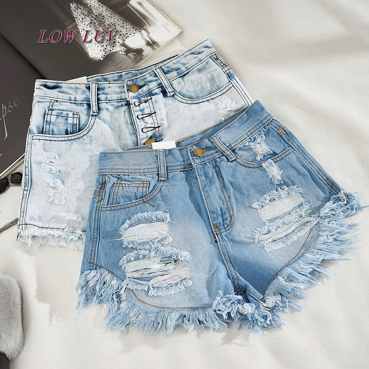 Fashion   Short   Jeans 2017 Summer Women High Waist Denim   Shorts   Frayed Hole Female Super Cool Flash   Shorts
