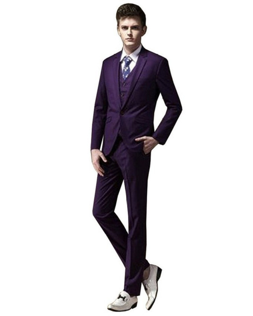 Purple Groom Tuxedos Custom Men Suit Bridegroom Notch Lapel Groomsmen Best Man Office Men Wedding Suits 2015 Fashion