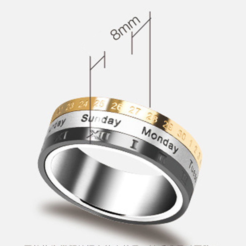 ROMAD Titanium Steel Tricolor Calendar Time Wedding Ring Men's Fashion Jewelry Band Gift Time to Turn the Wholesale Ring Y3 image