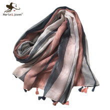Marte&Joven Elegant Womens Pink Striped Shawl Scarf with Tassels Ladies Popular Spring Soft Polyester Long Hijab Pashmina Wraps