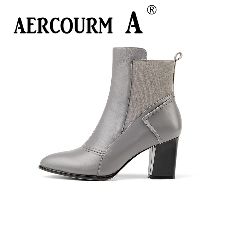 Aercourm A 2017 Ankle Boots Genuine Leather Shoes Black Gray Handmade Boots Short Plush Winter Cowhide Boots High Quality 946