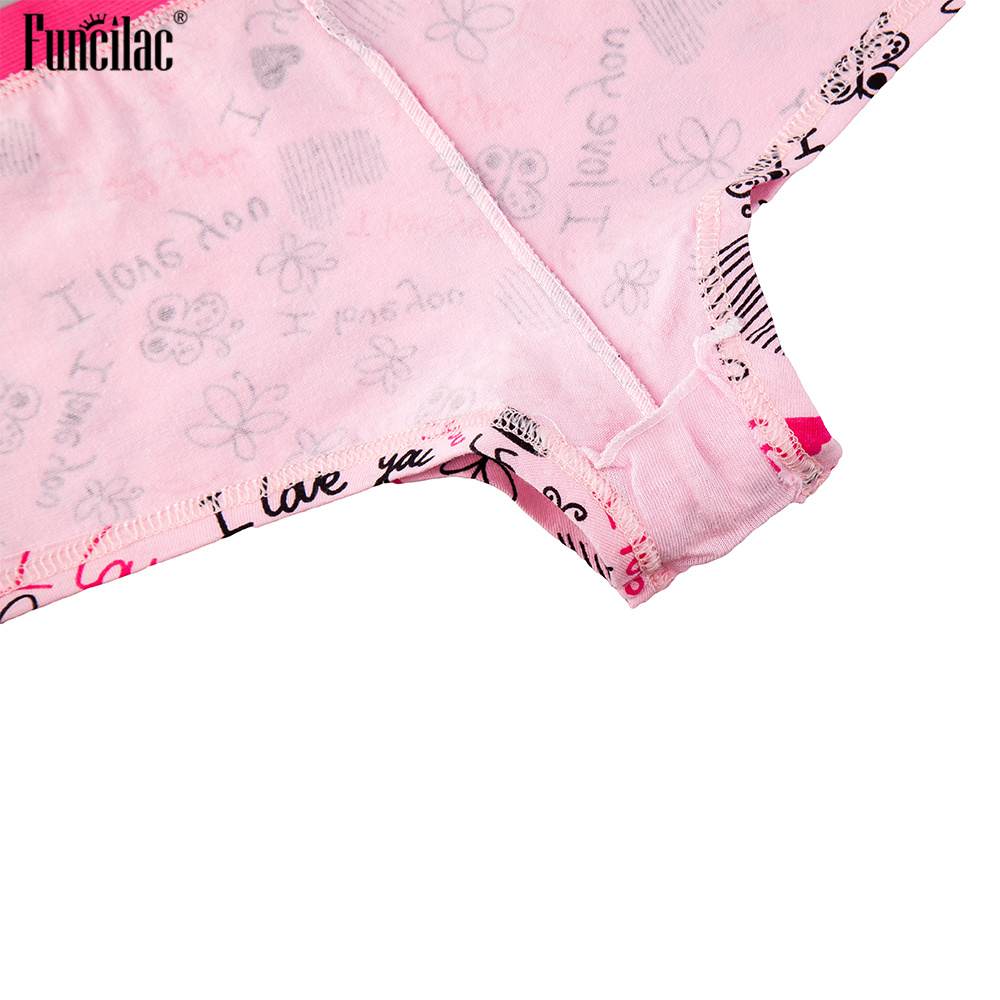 FUNCILAC Underwear Women Cotton Cute Low waist Panties Boxer Print Ladies Intimate Underpants Bow Boyshorts 3Pcs Lot M L XL in women 39 s panties from Underwear amp Sleepwears