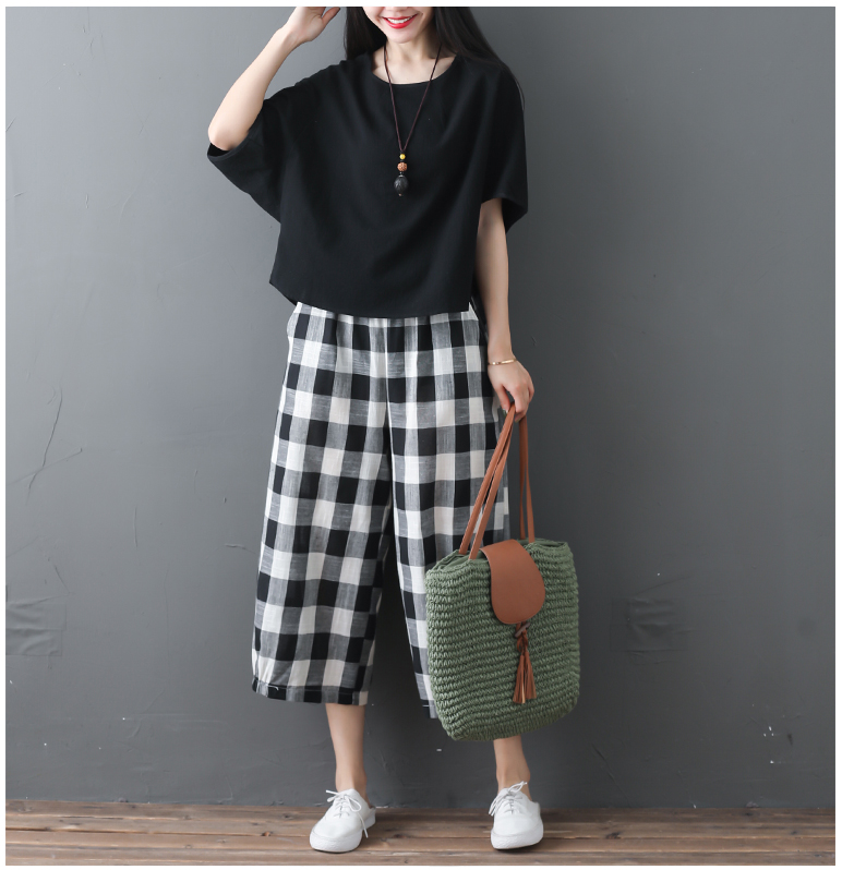 2019 Cotton Linen Two Piece Sets Women Plus Size Half Sleeve Tops And Wide Leg Cropped Pants Casual Vintage Women's Sets Suits 69
