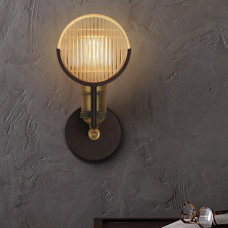 ZX LOFT Retro Iron LED Wall Lamp American Sitting Room Industrial Lighting Individual Creative Balcony Bedroom Artistic Lamp