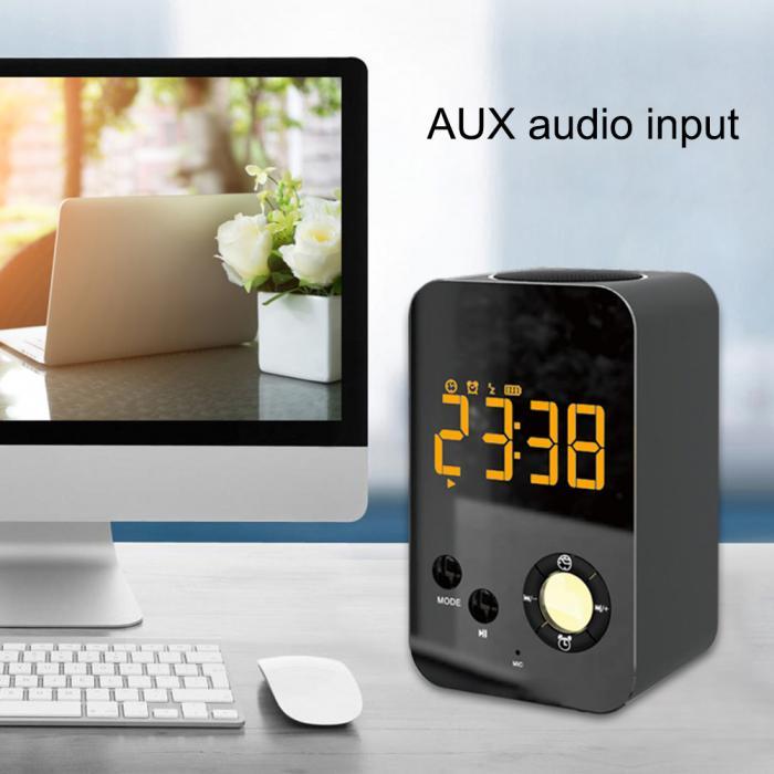 Mode Chaude Haut-Parleur Alarme Horloge Sans Fil Bluetooth Miroir Portable Mini Basse Numérique USB FM Radio FBE3