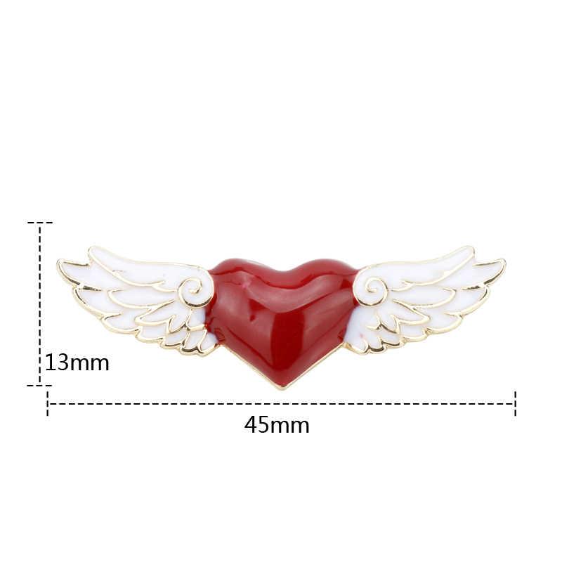 Fashion Perhiasan Cinta Hati Malaikat Sayap Logam Pin Bros Pernikahan Wanita Hadiah Aksesoris Menn