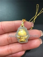 Natural 100% Pure Solid Gold Inlaid White HeTian Yu Carved Baby Angel Lucky Pendant Necklace + Certificate Fashion Jewelry