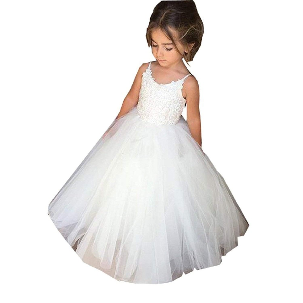 Hot Sale First Communion Dresses for Girls white O-neck Sleeveless Ball Gown Lace Appliques Flower Girl Dresses for WeddingHot Sale First Communion Dresses for Girls white O-neck Sleeveless Ball Gown Lace Appliques Flower Girl Dresses for Wedding