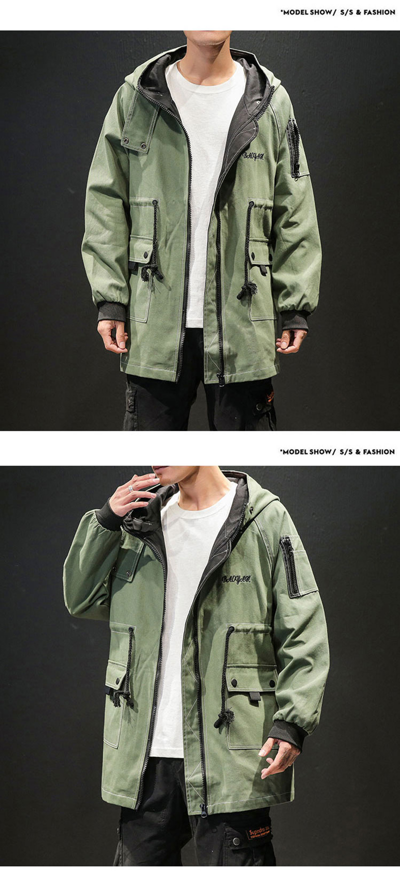 Army Green Trench Coat Men Korean Style Fashion Clothing Male Hooded Trench Coat Jacket   (9)