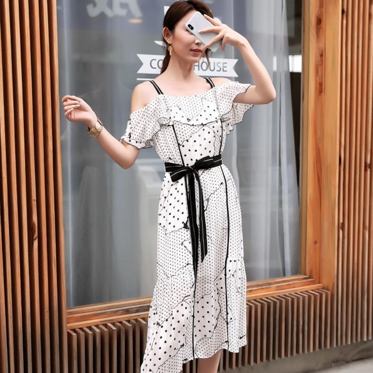 2019 Off Shoulder Strap Midi Dress Sexy Elegant Women Summer Dress With Belt Vestidos De Verano