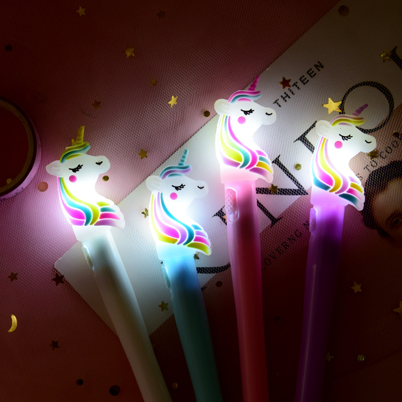 Saileroad crianças unicórnio luz brinquedos luz luminosa caneta brilho no escuro gel caneta bebê menino menina dinossauro brilhante brinquedos crianças brilhar brinquedo