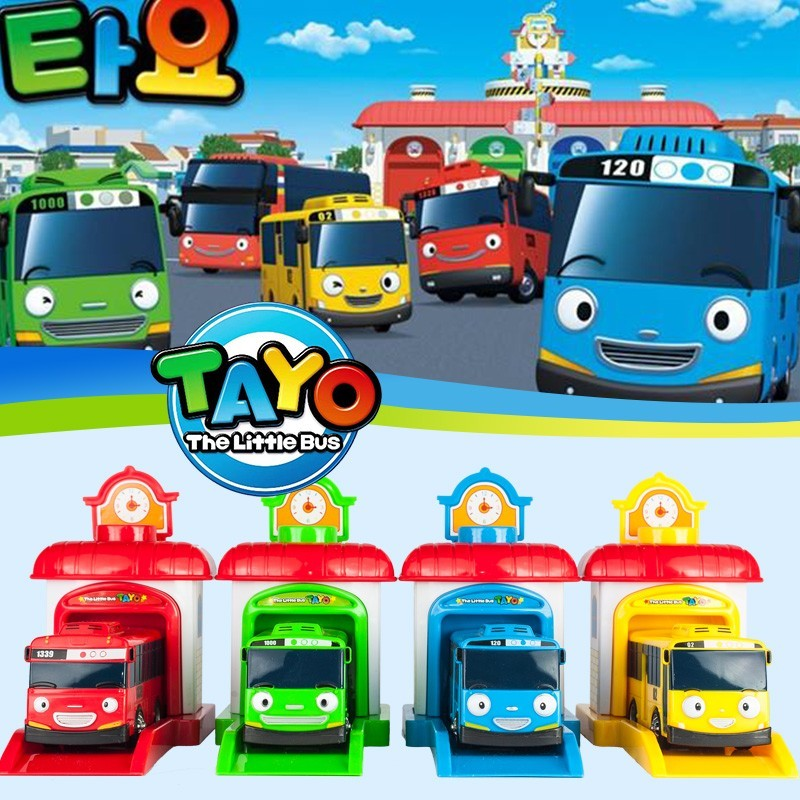 [ Funny ] 4pcs/set Scale model Tayo the little bus children miniature bus baby oyuncak garage tayo bus car vehicles kids toys vitaite vykinte tegul bus taip