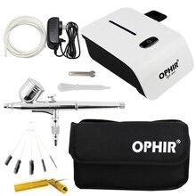 Zestaw do malowania natryskowego OPHIR ze sprężarką powietrza i narzędziami do czyszczenia i torbą rozpylacz w sprayu do systemu makijażu Nail Art malowania ciała _ AC117W +
