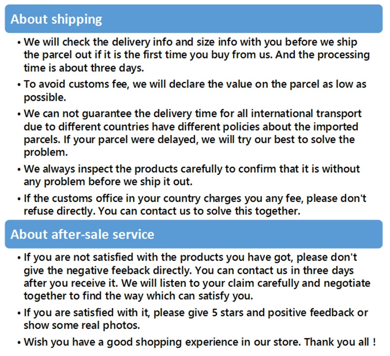 servie and shipping